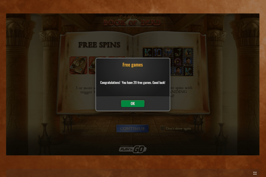 20 free spins screenshot